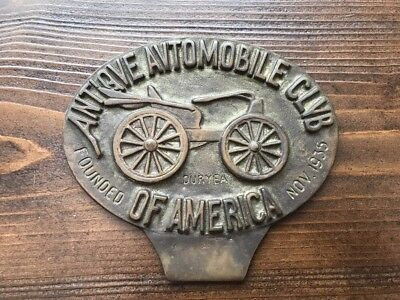 Vintage Brass Antique Automobile Club Of America Founder Duryea Nov. 1935 Plaque