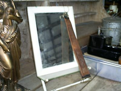 Antique Vintage Hanging Shaving Mirror Towel Bar & Glass Shelf Bathroom Mirror