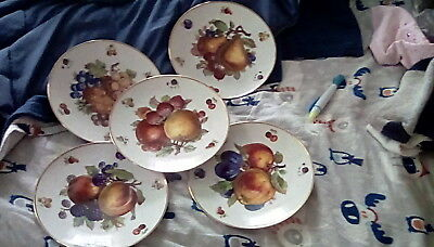 "Mitterteich Bavaria Germany (6) Six DEBRA 7-3/4"" Salad Plates Fruit Design"
