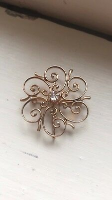 Late 1800s Early 1900s European Mine Cut Diamond Brooch Rose Gold