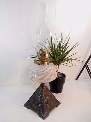 Original Vintage Antique Tall Victorian Glass Swirl Oil Lamp - Cast Iron Base