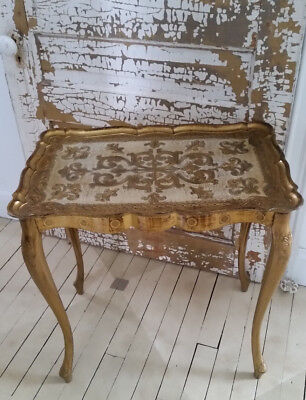 Vintage Italian Florentine Gold Rectangle Table Hollywood Regency Glam Gold Gilt