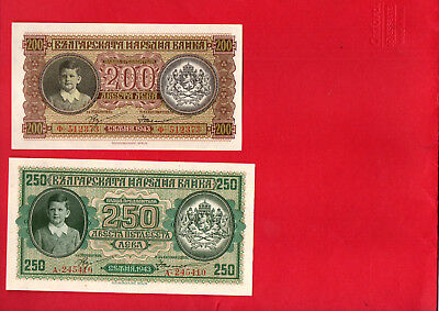 Bulgaria 200 And 250 Leva 1943  Unc Condition 2 Banknotes