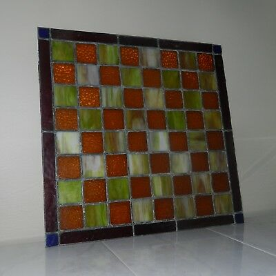 "Vtg Mcm Stained Glass Window Panel Amber Green 18 1/2"" Leaded Art Deco"