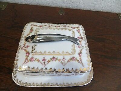 Antique Victorian 1900's Crown Victoria Austria 3-D Fish Handle Trinket Box #310