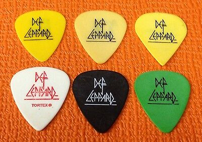 Def Leppard - 6 Guitar Pick Lot - Steve Clark + More - Tour Picks