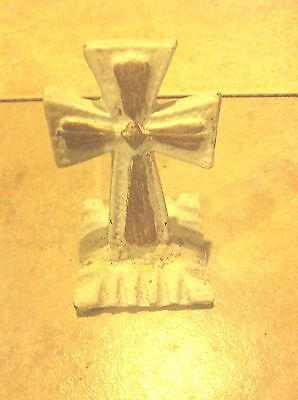 Cross Cast Iron Standing Paperweight White Gold Crucifix Christian MADE IN USA