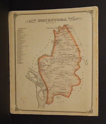Pennsylvania Lancaster County Map Contestoga Township 1875 Dbl Side Y15#31