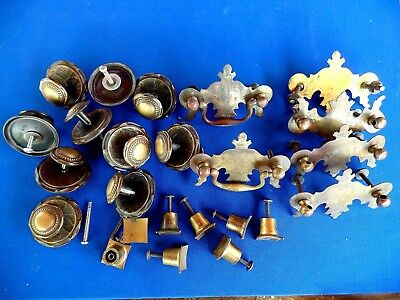 3 Style Lots Used Antique Deco Vintage Door Dresser Knobs Pulls and Parts