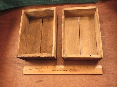 2 Small Antique Vintage Wood Crate Rustic Old Primitive Small Boxes Storage