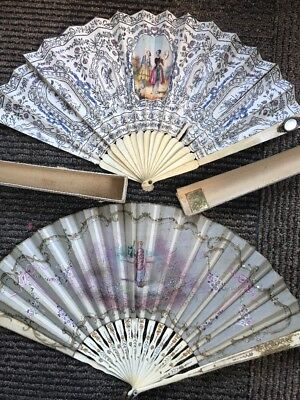 2 Antique 19th Century Victorian Hand Painted Fan Mirror Painted Ornate Bone
