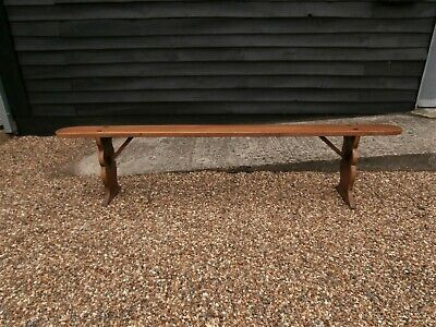 BEAUTIFUL CONTINENTAL 19th CENTURY FRUITWOOD LONG BENCH - PEW FORM CHAIR SEAT