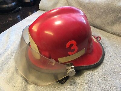 Vintage Red 1969 Cairns & Brother Fire Department Helmet Model #770 wFace Shield