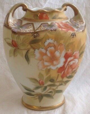 """Antique Nippon Hand Painted Vase Gold Moriage Jewels Wreath Mark 7 1/4"""" Large"""