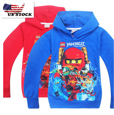 Boys Lego Ninjago Pull Over Hoodie Sweatshirt Jacket Halloween Costume O8B