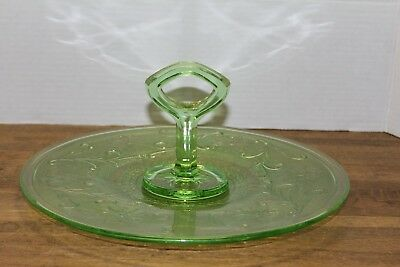 "Vtg Uranium Green Depression Glass ""Center Handle Cake/Sandwich Plate Tray"""