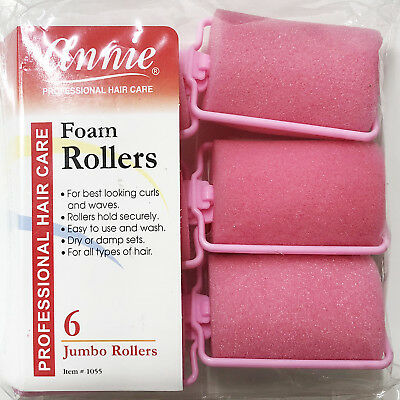 Annie Classic Foam Cushion Rollers #1055, 6 Count Pink Jumbo 1-1/2""