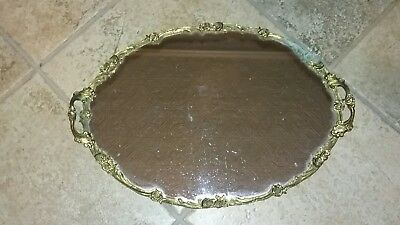 Vintage Brass vanity mirror tray Roses Flowers perfume powder holder
