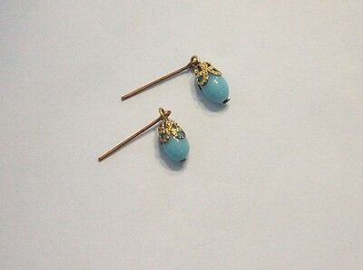 Blue glass earrings W/ filigree brass cap for antique French or German doll 4mm