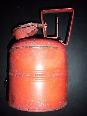 ANTIQUE VINTAGE RED JUSTRITE MFG Co. CHICAGO - 1 GALLON SAFETY CAN - GAS CAN