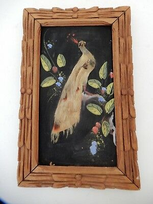 Vintage Framed Painting Peacock Bird REAL FEATHERS  Purple Red Green Gold