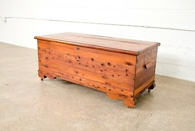 Antique Cedar Blanket Hope Chest Trunk or Coffee Table with Wooden Casters