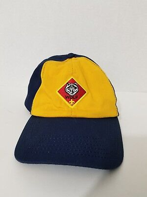 BSA BOY Wolf CUB Scouts Hat BLUE Yellow Twill S/M  P Cap OF AMERICA USED