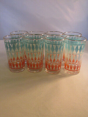 Vintage New Old Stock Atomic Federal Glass Drinking Glasses in Box Set of 8