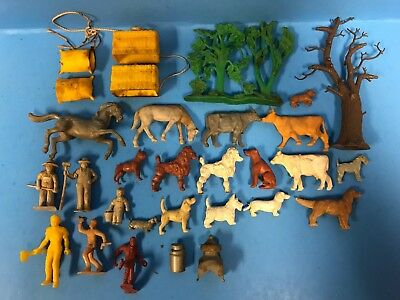 + Lot Of 30 Vintage 50's Marx And Assorted Animals And Accessories