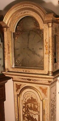 Antique Cream Japanned Lacquered Case  Longcase / Grandfather Clock