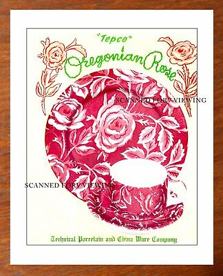Rare TEPCO Restaurant Ware CATALOG ARTWORK OREGONIAN  Pattern + Price List
