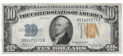 1934 A $10 Ten Dollar Bill/Note North Africa Yellow Seal Silver Certificate