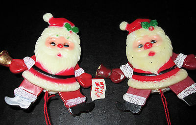 2 VTG Christmas Santa Claus Pull String Plastic Pin Articulated Moving Arms Legs