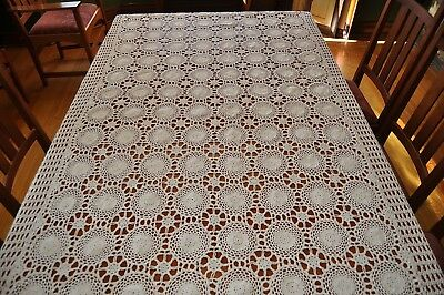 "FABULOUS VINTAGE ECRU CROCHETED TABLECLOTH - 48"" x 96"" in BEAUTIFUL CONDITION !!"
