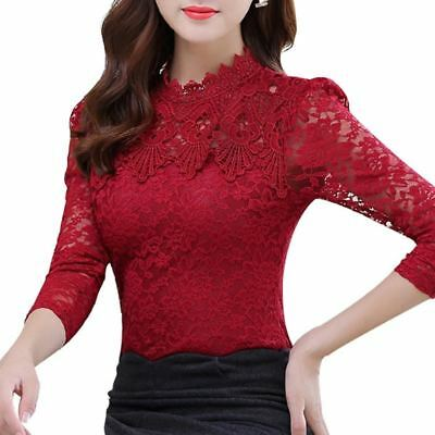 2017 Spring Autumn Women Tops Fashion Lace Blouse Long Sleeve Slim Body Floral S