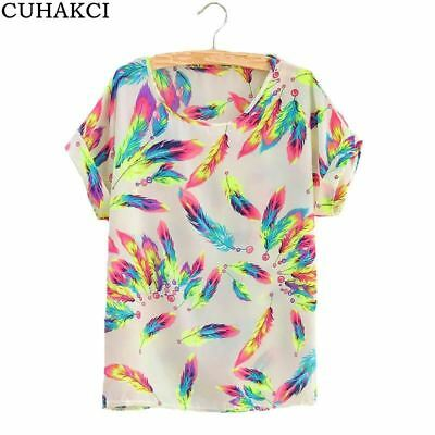 CUHAKCI Summer Women Sunflower Bird Chiffon Print Blouse Stripe Plaid Shirt Cros