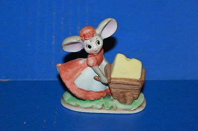 Cute Vintage Mouse Pushing Cart Of Cheese Figurine