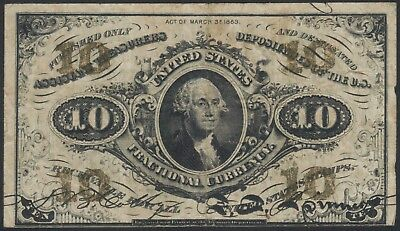 1863 US Fractional Bank Note 25c 10c F1255 3rd series Fine TMM*