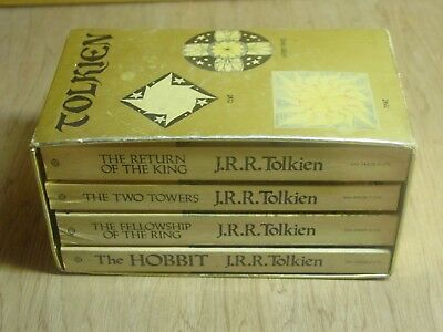 Vintage 1970's Lord Of The Rings Books Boxed Set of 4 JRR Tolkien