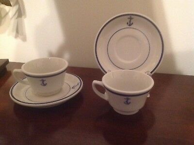 Shenango China US Navy Anchor Officer Mess Hall Cup Saucer Set Of 2 Old