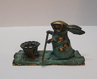 Brass Bunny Rabbit on Raft with Paddle and Candle Holder Vintage