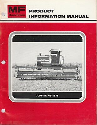 1980's Massey Ferguson Combine Headers Dealer Product Information Manual