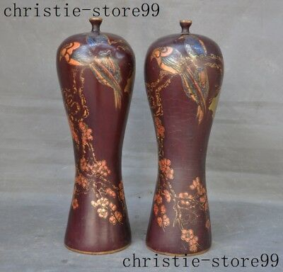 China lacquerware Painted Magpie flower mountain calligraphy Bottle Pot Vase Jar