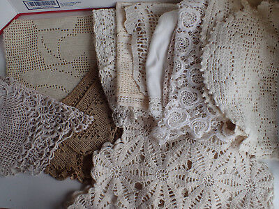 Lot of 12 Vintage linen cottontable runners dollies more hand crochet GLAMPING