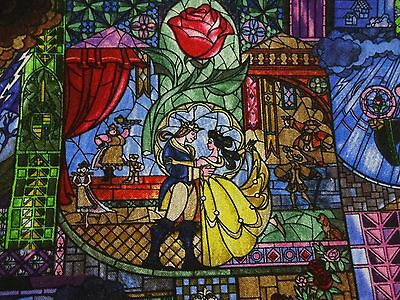 "Stunning ""BEAUTY & THE BEAST STAINED GLASS"" Handmade Cotton Pillowcase"