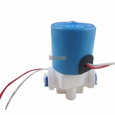 "DC24V 1/4"" Electric Solenoid Valve N/C Feed for RO Water Air with Quick Connect"