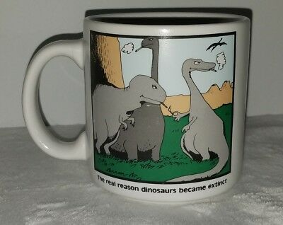 The Far Side Reason Dinosaurs Became Extinct Coffee Mug Gary Larson Smoking