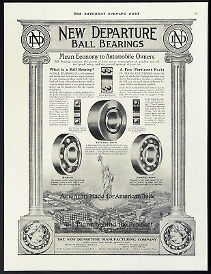 """Orig 1915 NEW DEPARTURE BALL BEARINGS """"American Made for American Trade"""" Vtg AD"""