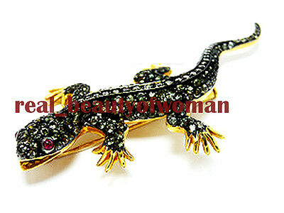 Victorian Vintage 3.92cts Pave Rose Cut Diamond Ruby .925 Silver Lizard Brooch