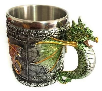 DRINKING MUG 3D Double Walled Stainless Steel Dragon Medieval Fantasy Mug